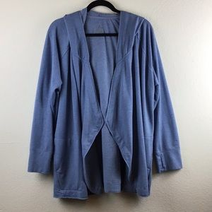 Cuddl Duds Comfortwear Open Front Hooded Cardigan